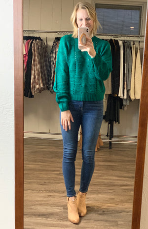 Emerald Pointelle Sweater