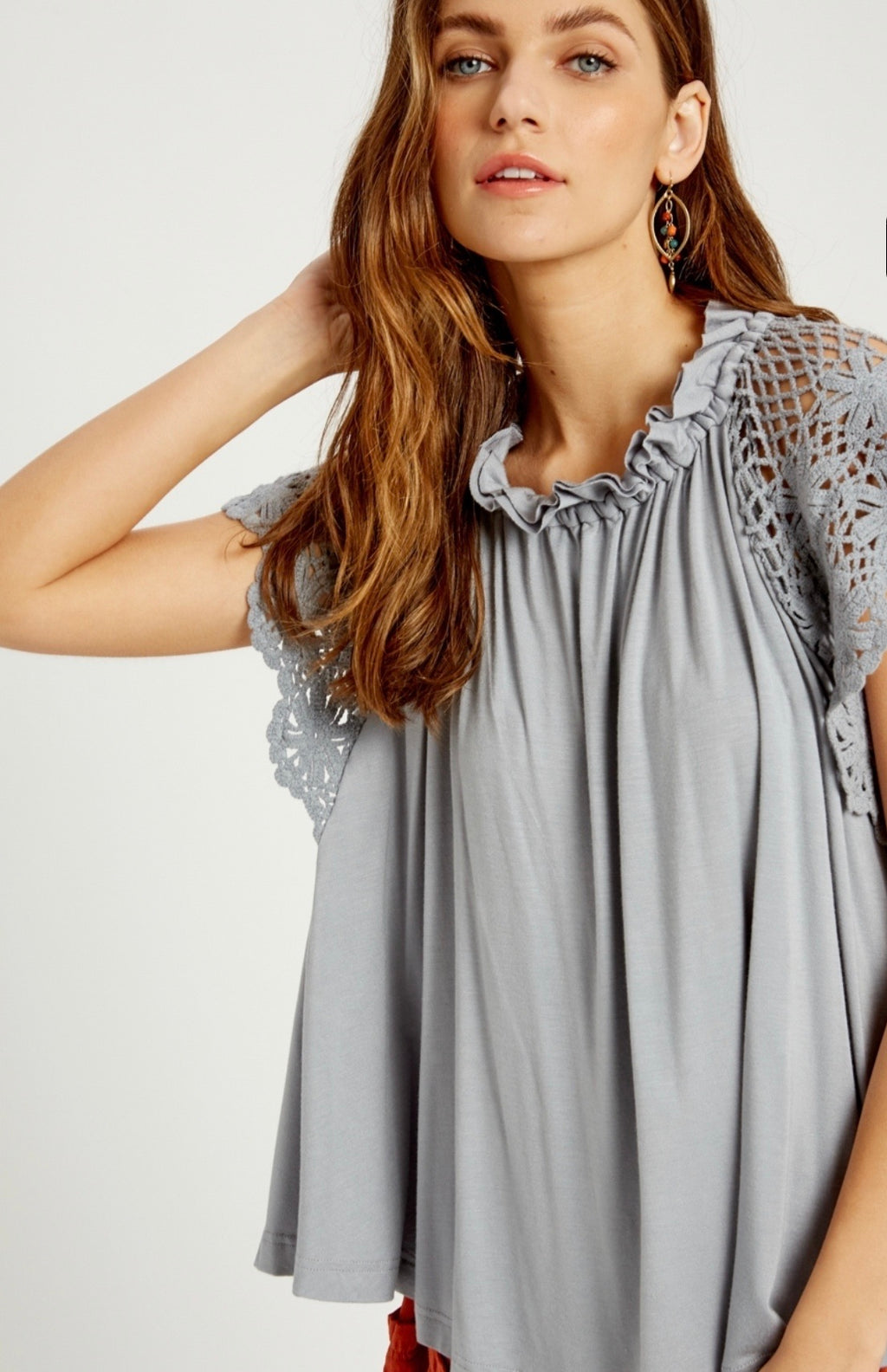 Lace Sleeve Flowy Top