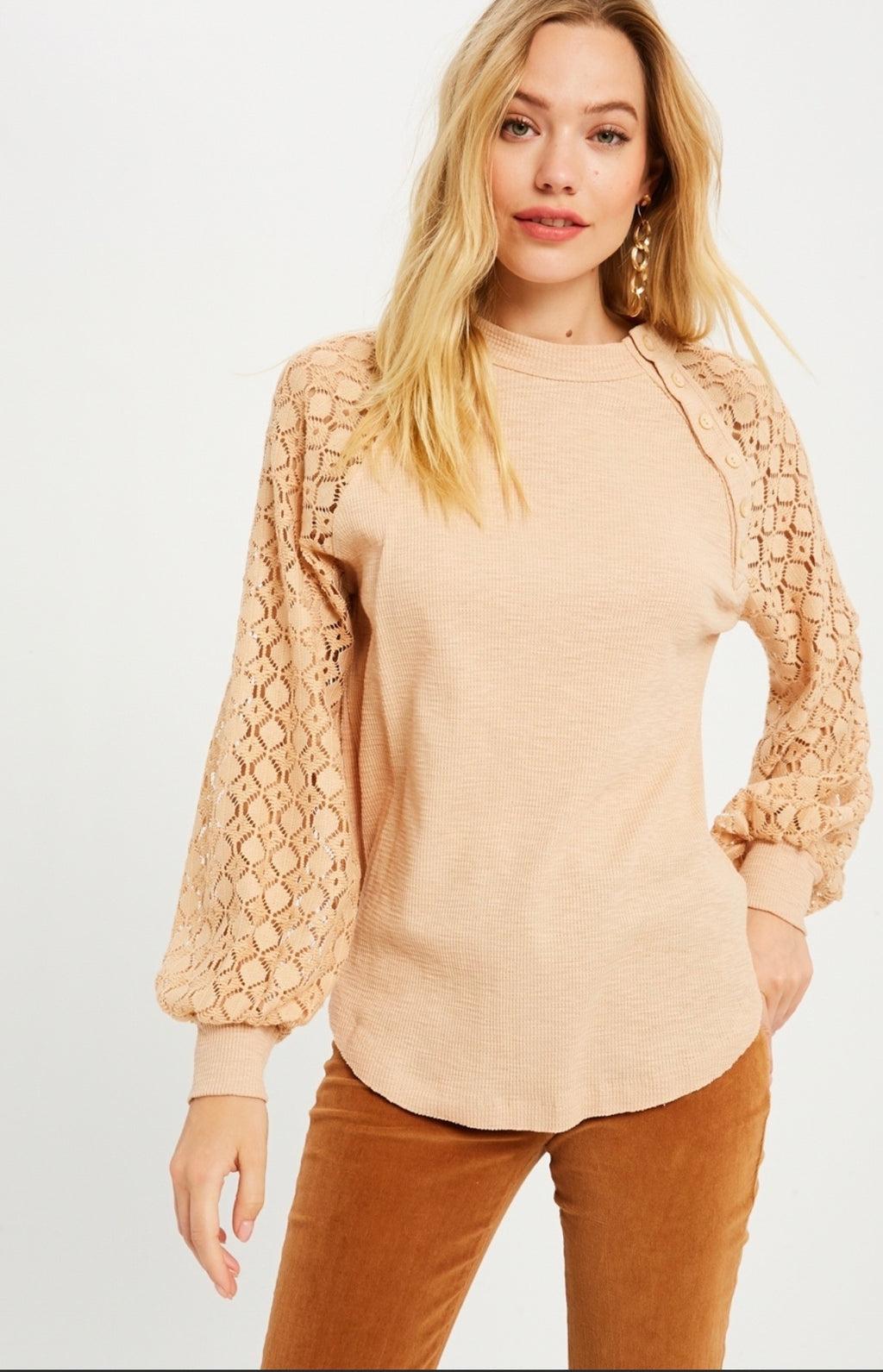 Lace Sleeve Slouchy Thermal Knit Top