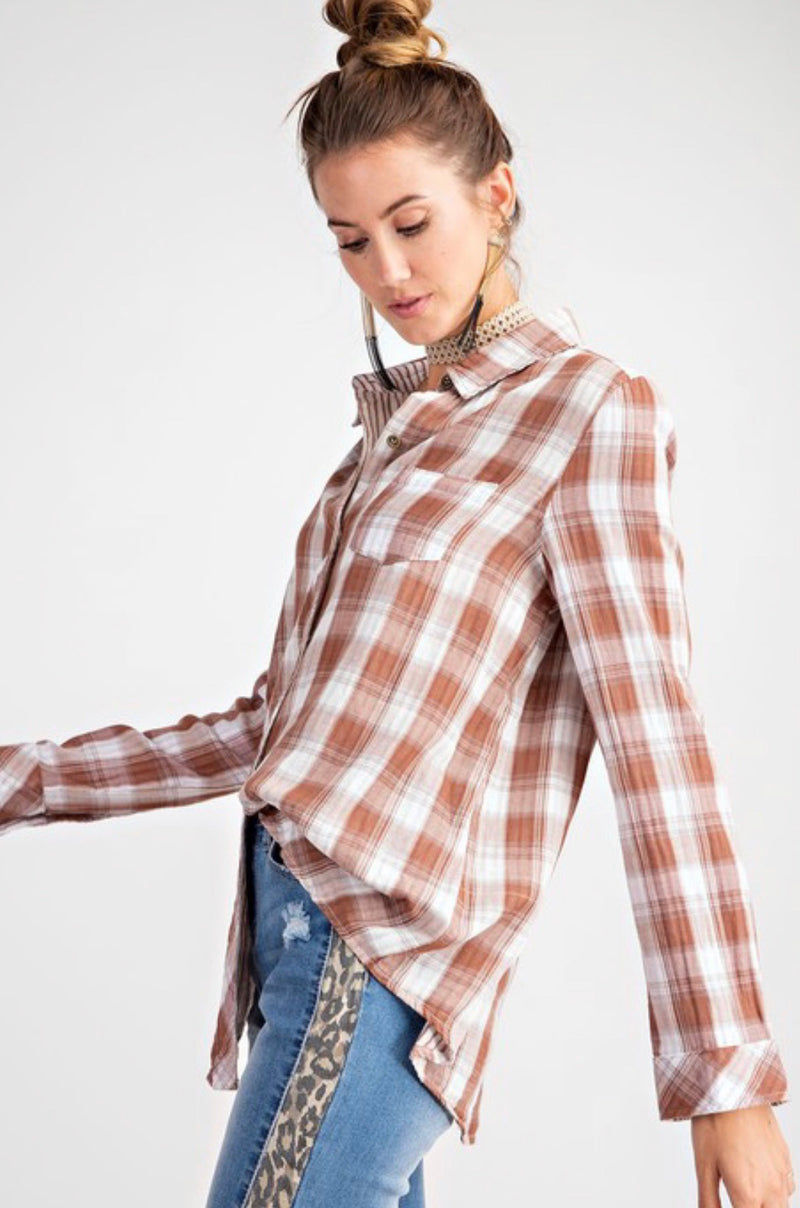 Double Side Plaid Top