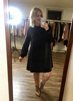 Mock Neck Velvet Dress