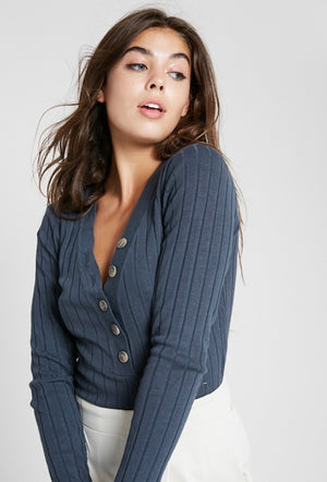 Button Front V Neck Sweater