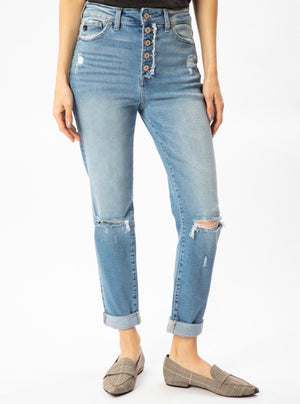 Straight Cropped Distressed Denim