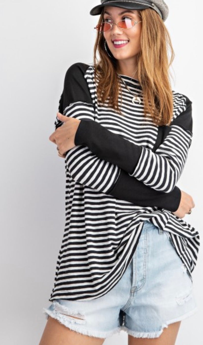Stripe and Solid Mix Top