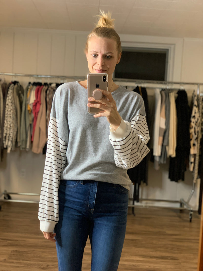 Striped Sleeve Pullover