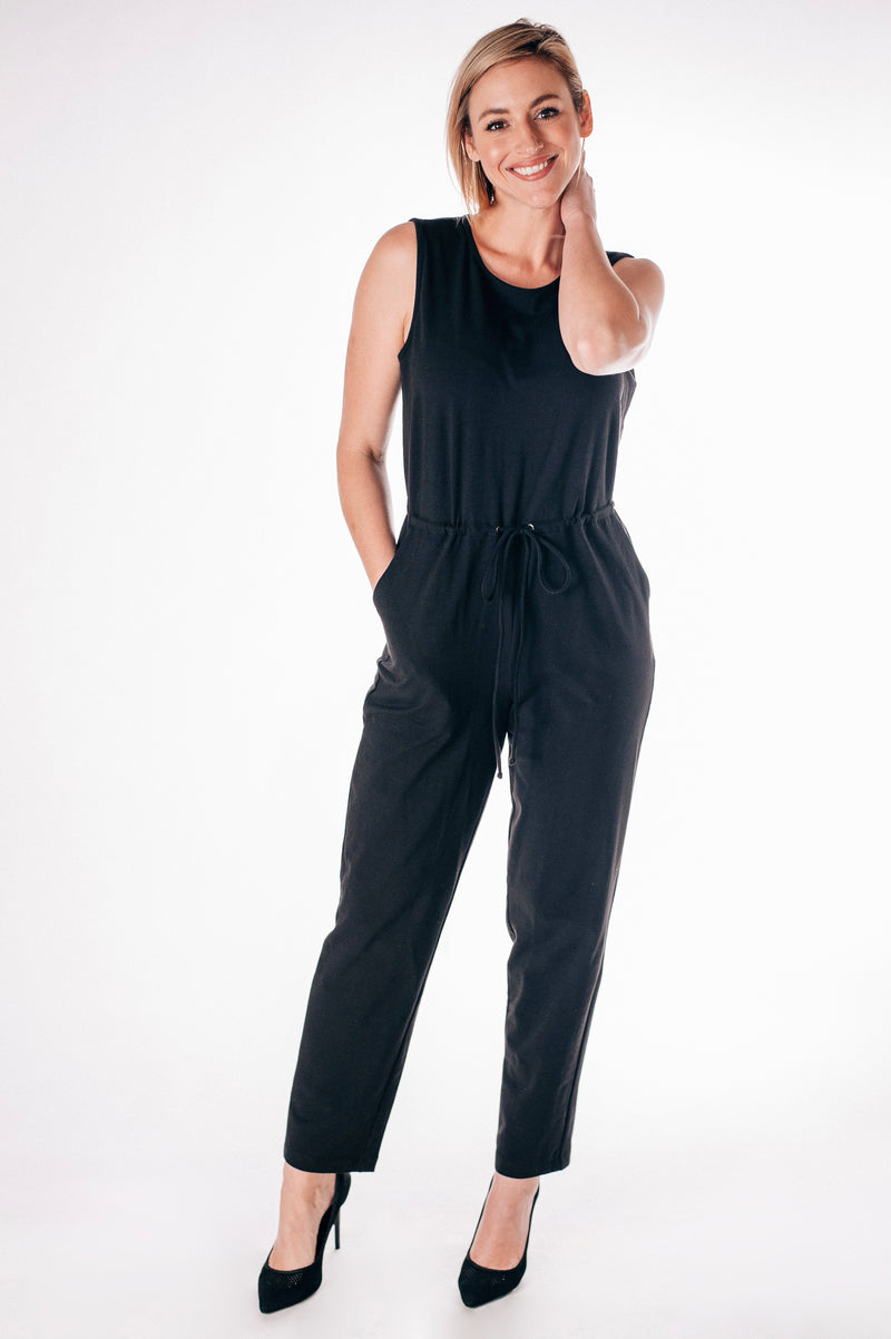 Sleeveless Jumpsuit with Drawstring Waist