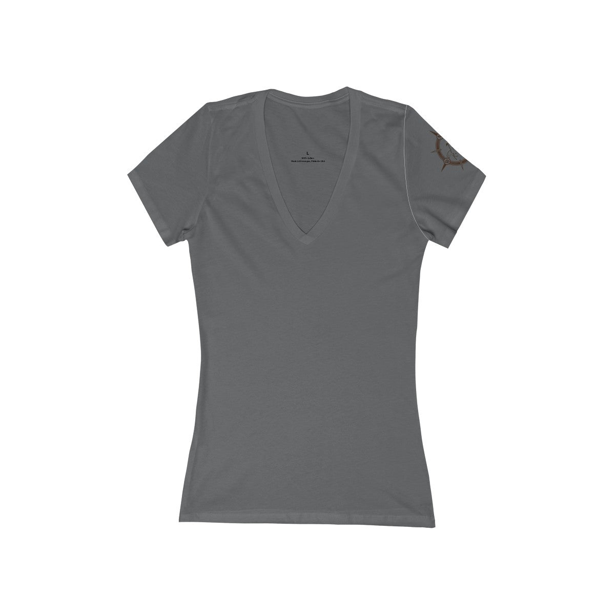 Cowboy Dressage Women's Jersey Short Sleeve Deep V-Neck Tee Arm Logo