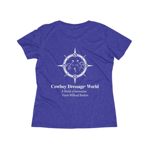 Cowboy Dressage Women's Heather Wicking Tee - Back Print