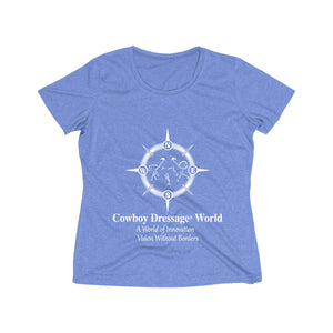 Cowboy Dressage Womens Heather Wicking Tee - Front print