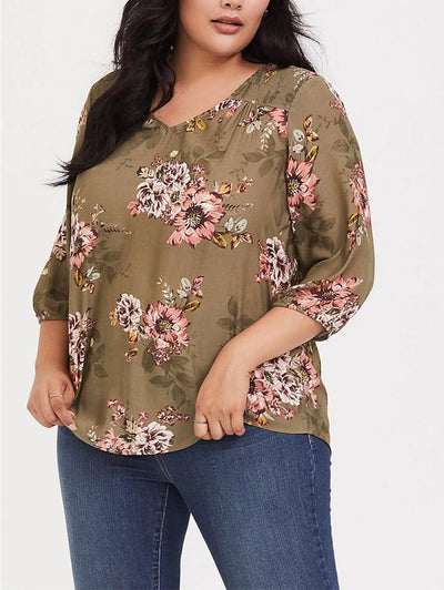 Olive Brown Floral Crepe Smocked Blouse