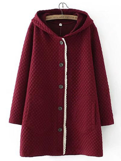 Plus Size Sweet Appliqued Long Sleeve Coat