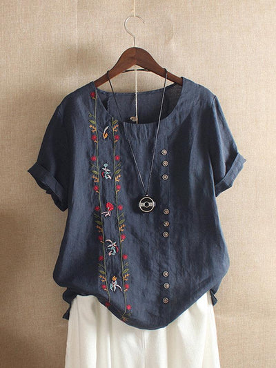 Bohemian Embroidery Floral Short Sleeve T-Shirt