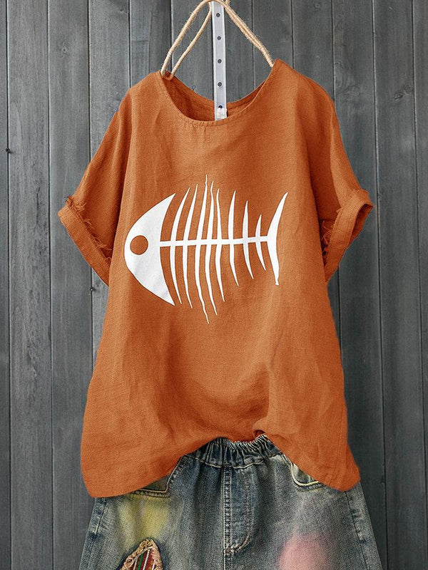 Print Fish Bone Casual Short Sleeve Cute T-Shirt