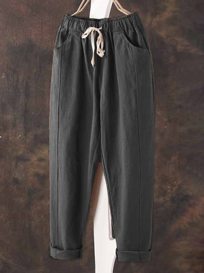 All Season Linen Casual Pockets Drawstring Natural Pants - ithelens