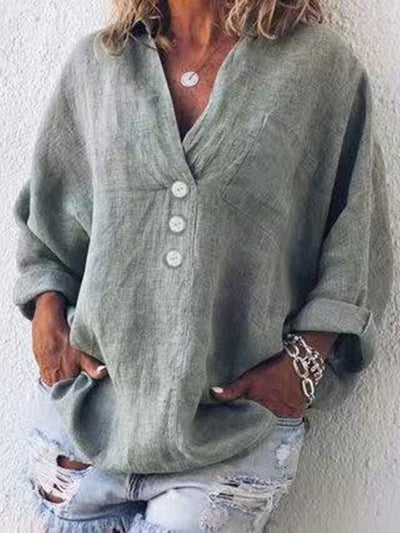 Button Solid Color Loose Long Sleeve Blouse