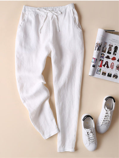 Summer Elastic Strap With Solid Color Casual Long Pants