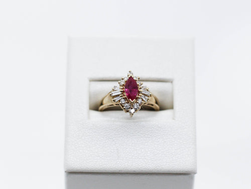 Yellow Gold Diamond/Ruby Ring