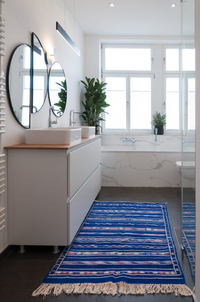 Jurande interior with blue kilim handmade rug
