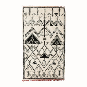 Black & White Patterned Berber Rug from Morocco against white background