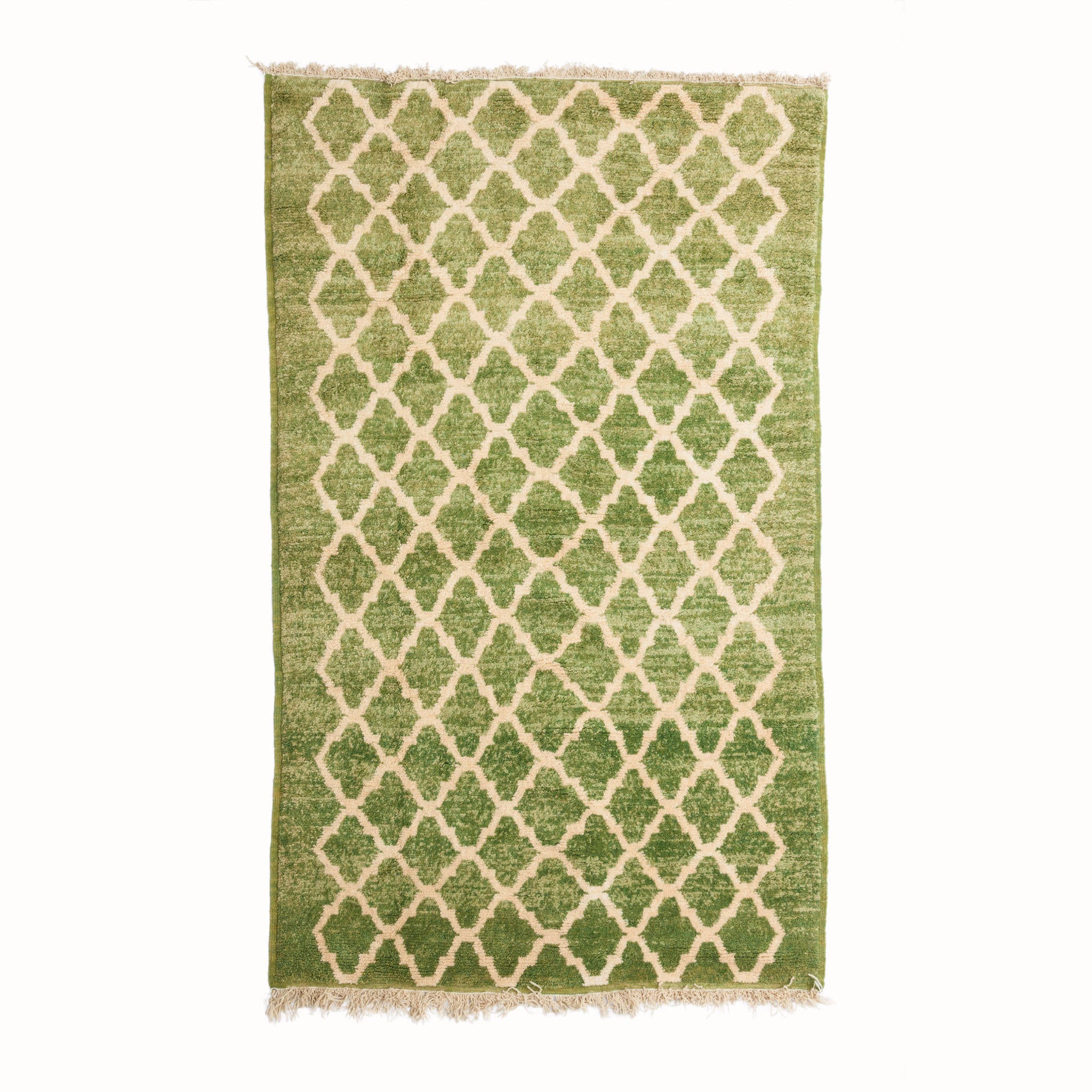 Emerald Green Patterned Berber Rug