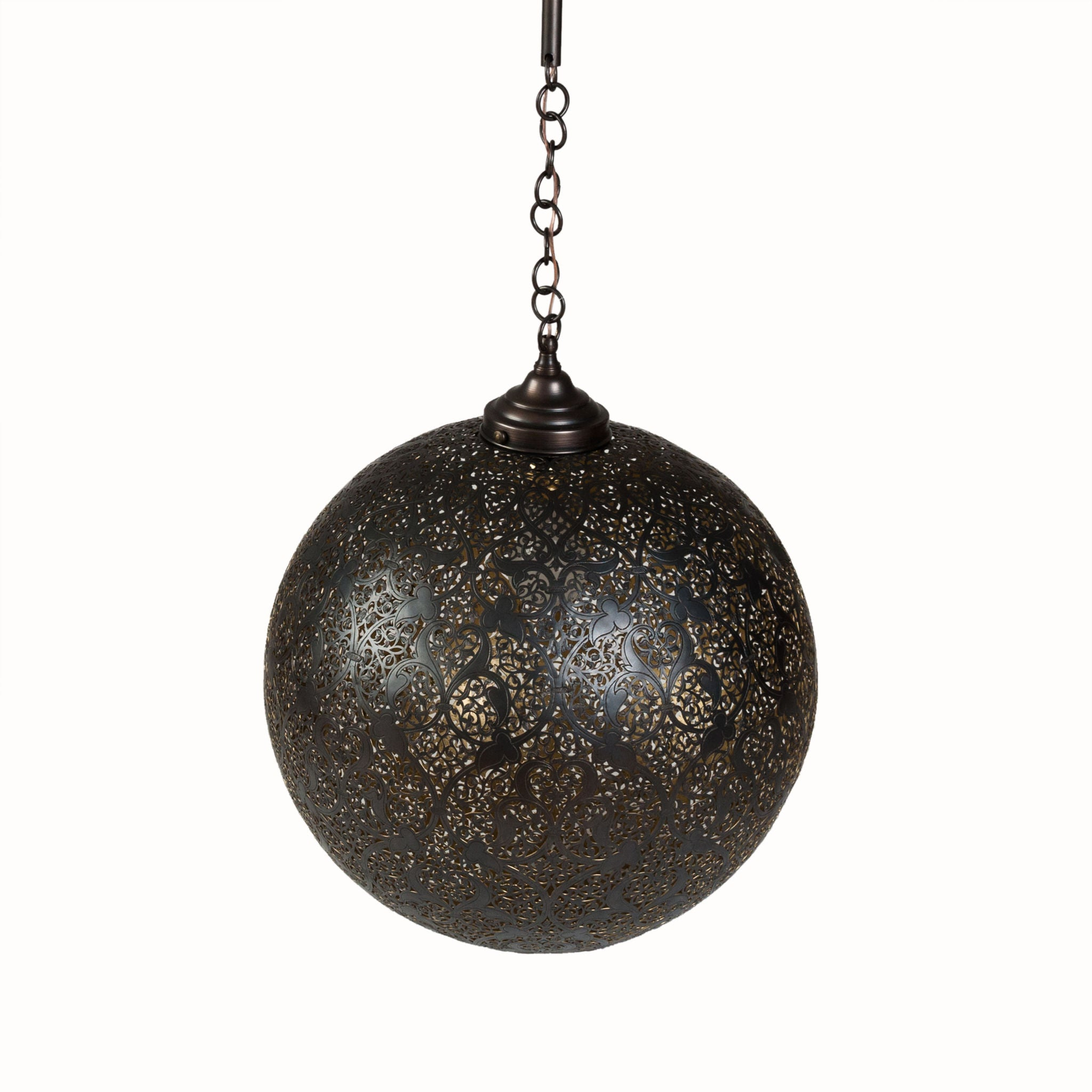 Black Moroccan Brass Hanging Round Lamp