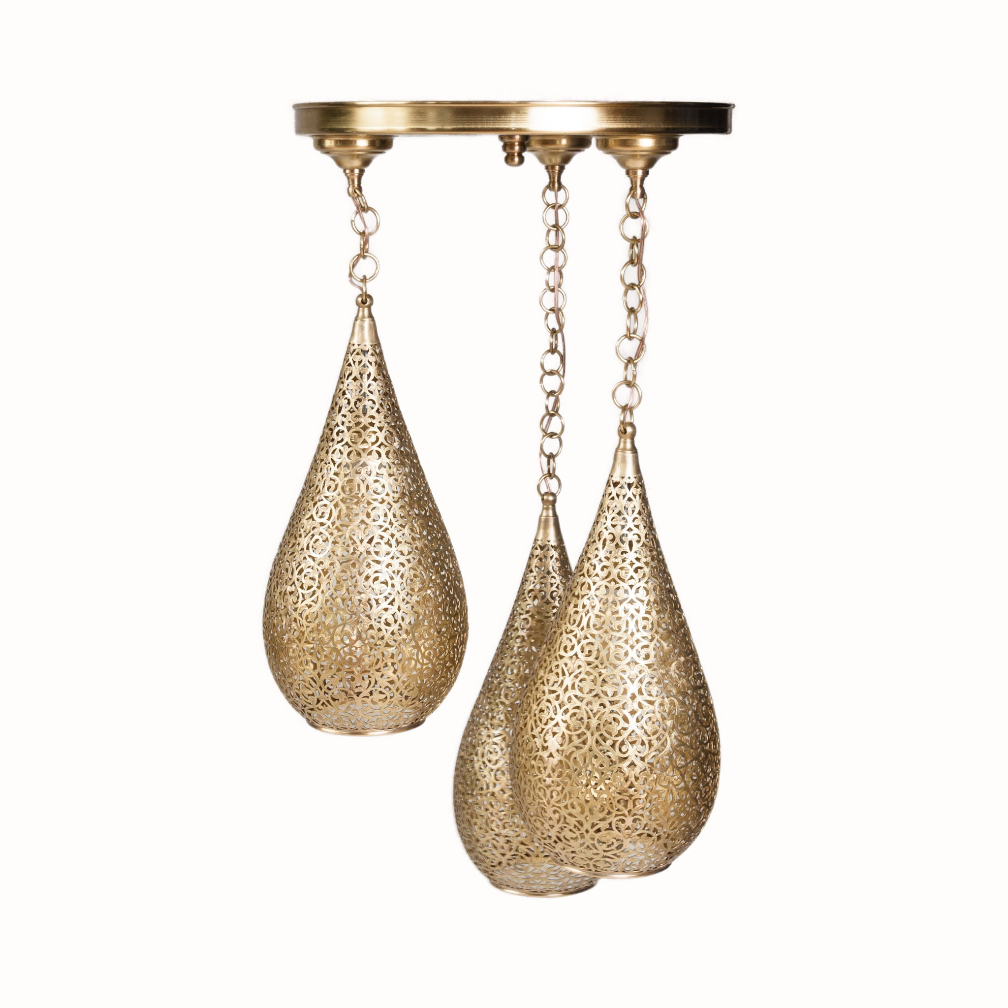 Moroccan Handmade Three-in-one Tear-Drop brass lamp
