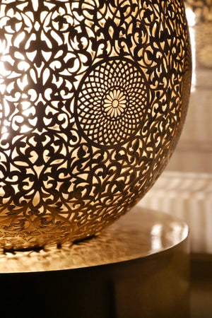 Large Moroccan Brass Floor Lamp