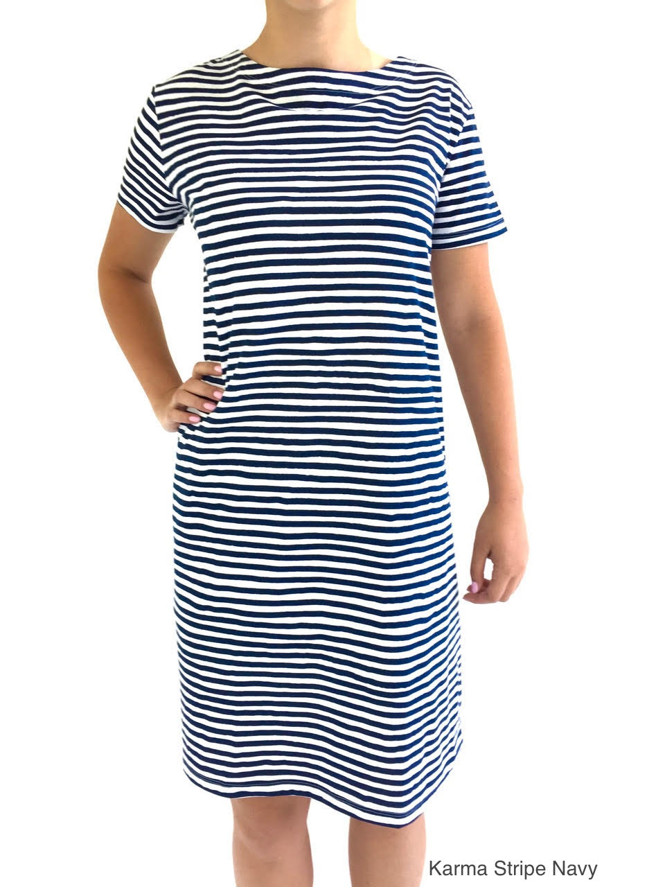 See Design Knit Dress Karma Stripe Navy cotton coverup by Donna Gorman