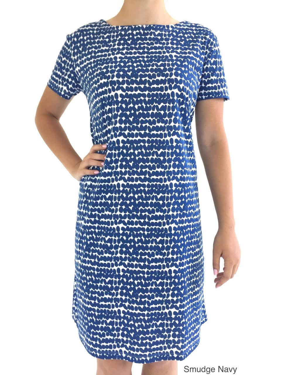 See Design Knit Dress Smudge Navy cotton coverup by Donna Gorman