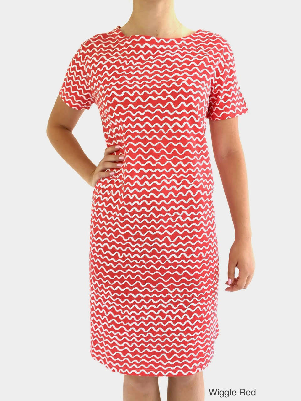 See Design Knit Dress Wiggle Red cotton coverup by Donna Gorman