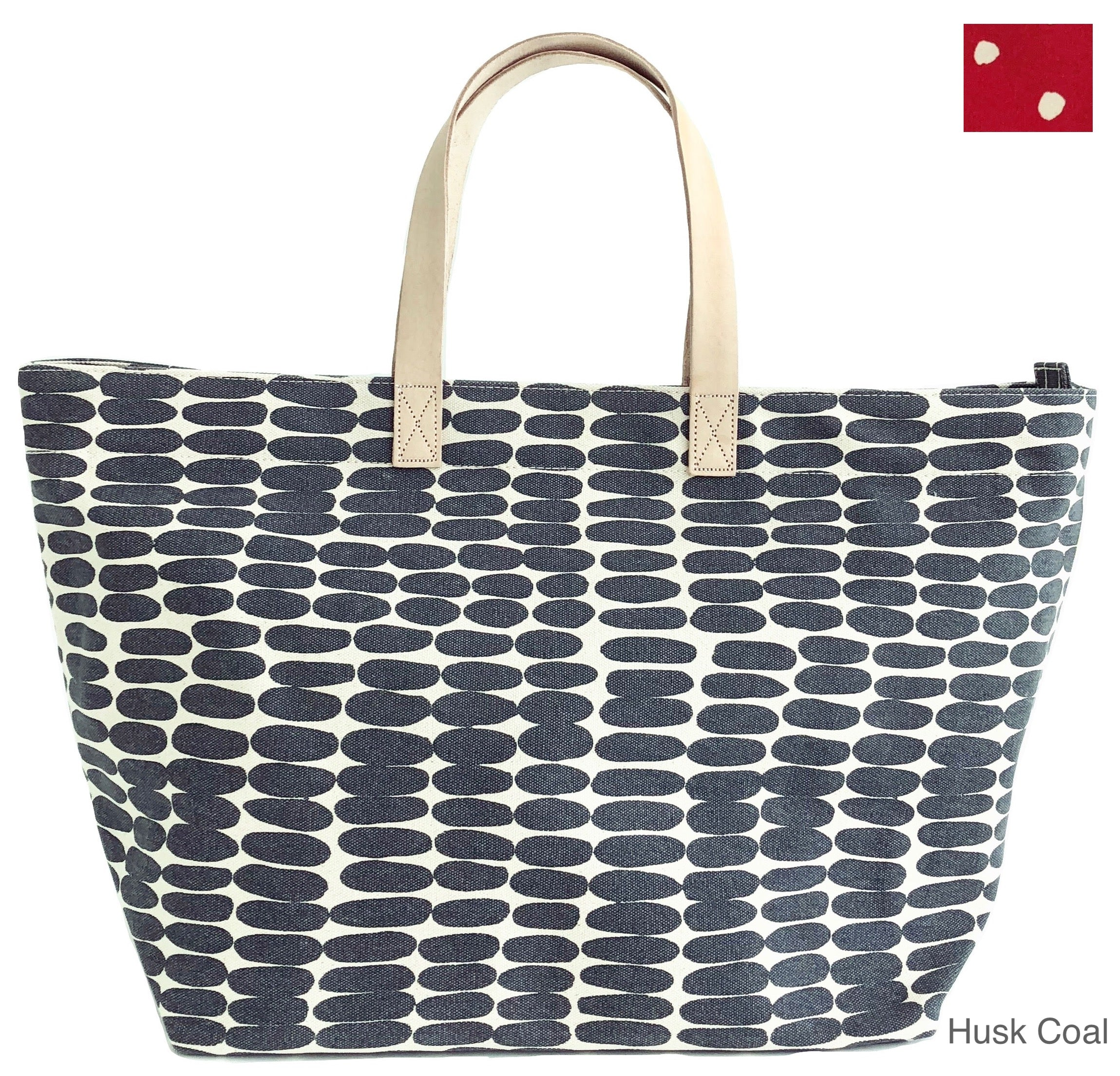 See Design Overnighter Husk Coal zippered tote bag by Donna Gorman
