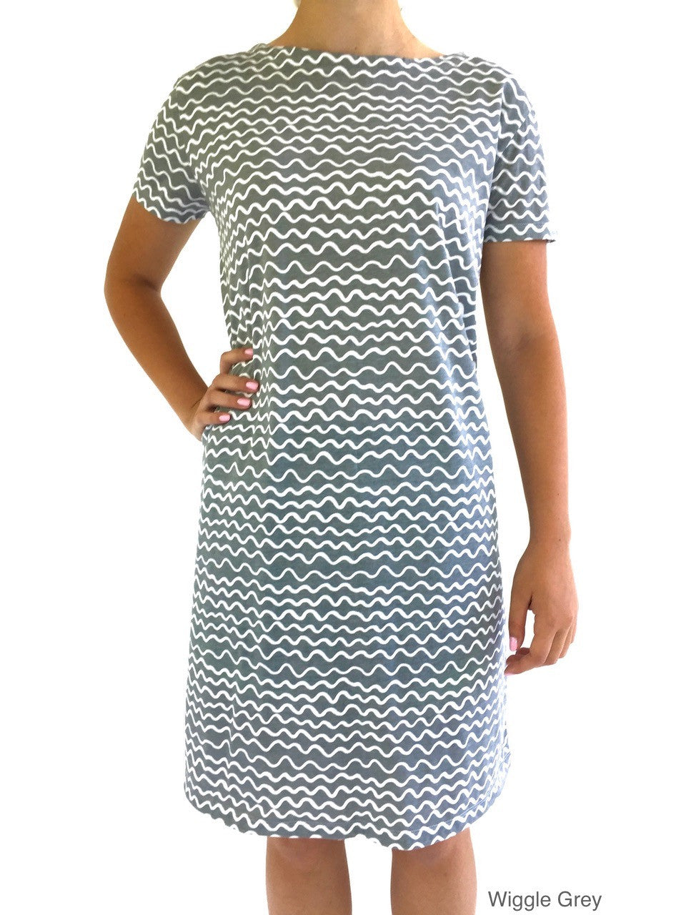 See Design Knit Dress Wiggle Grey cotton coverup by Donna Gorman