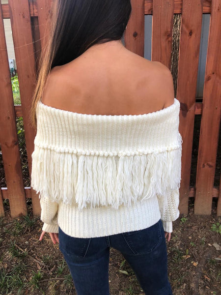 Ivory Fringe Off The Shoulder Sweater