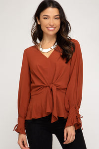 Rust Blouse with Front Tie