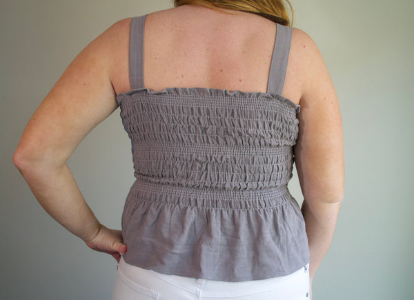Grey Smocked Top
