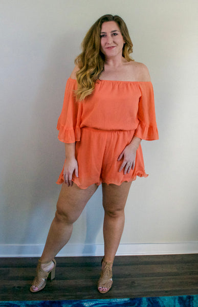 Every Girl's Dream Romper- Coral