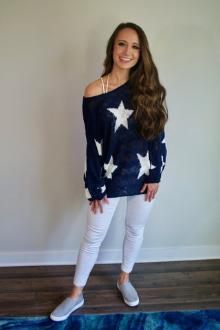 Navy Blue Star Sweater