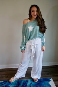 White Flowy Beach Pants