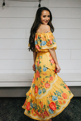 Spanish Yellow Floral 2 Piece-Skirt