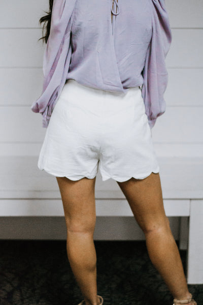 Off-White Scalloped Shorts