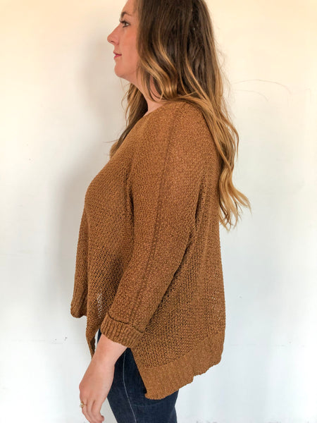 Knitted Woven Sweater- gold