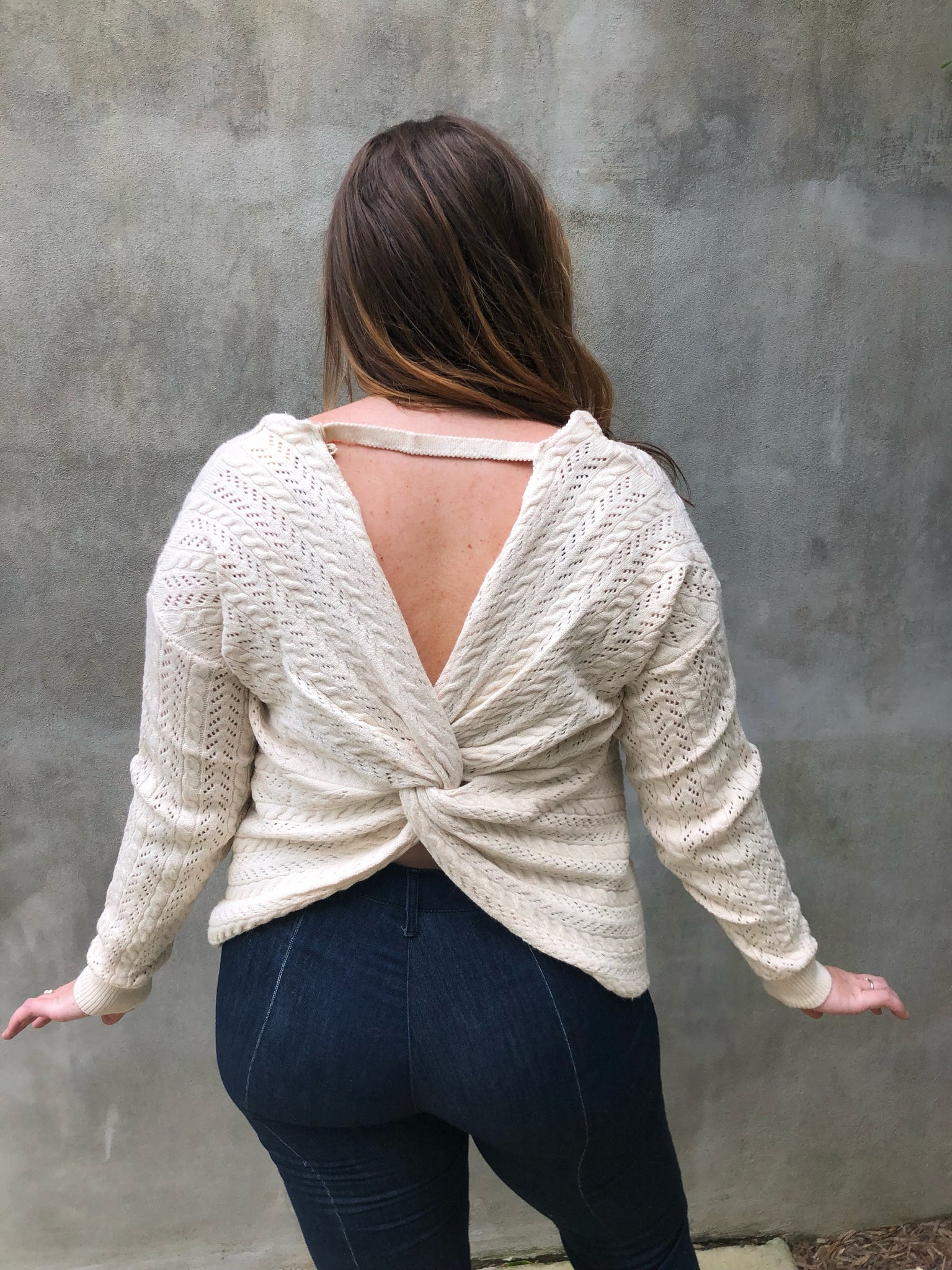 Cream Knit Twist Top
