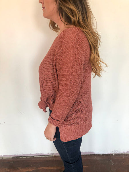 Knitted Woven Sweater- pink