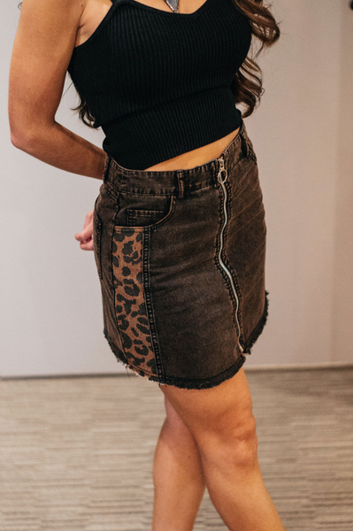 Mocha Cheetah Mini Skirt