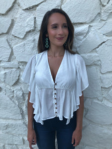White fit-and-flow top