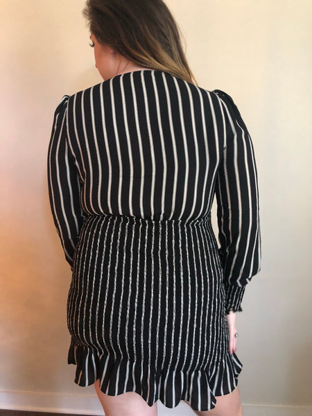 Long sleeved smocked dress- black and white striped