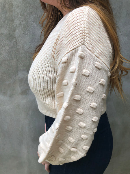 Bubble Sleeve Cropped Sweater