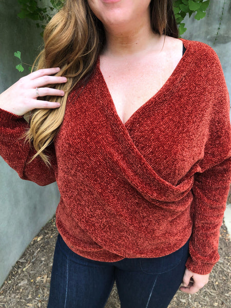 Rust Knit Wrap Top