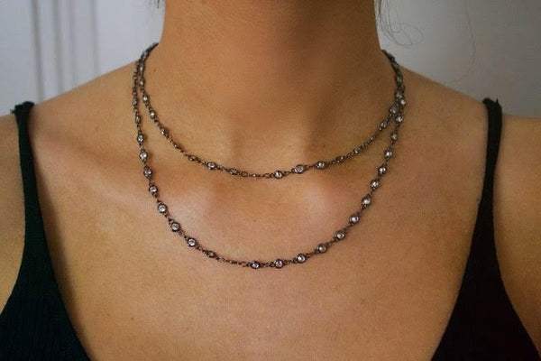 Gunmetal Double Warp Crystal Beading Necklace