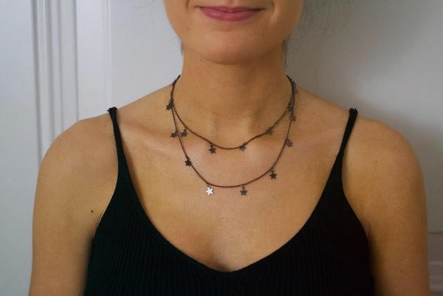 Gunmetal-Double Wrap Star Necklace